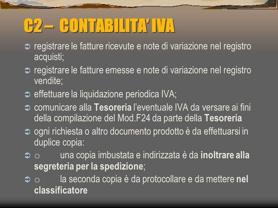C1 – CONTABILITA GENERALE Prelevare i documenti giustificativi (fatture, versamenti, pagamenti, riscossioni ) dai rispettivi raccoglitori ( acquisti-