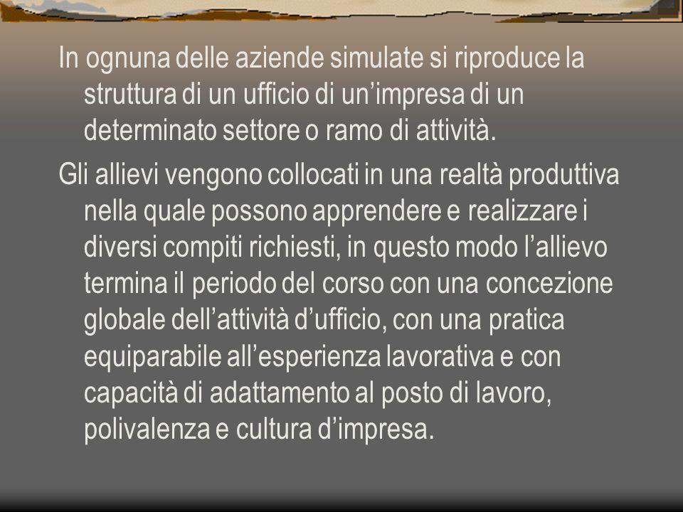 In ognuna delle aziende simulate si riproduce la struttura di un ufficio di unimpresa di un determinato settore o ramo di attività.