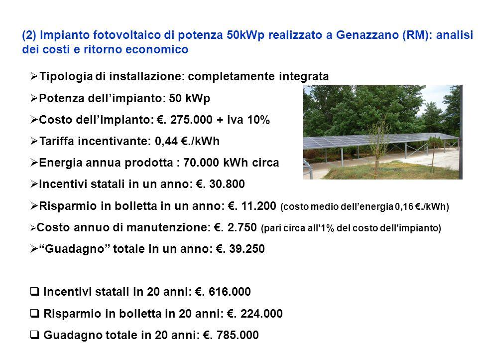 (2) Impianto fotovoltaico di potenza 50kWp realizzato a Genazzano (RM): analisi dei costi e ritorno economico Tipologia di installazione: completamente integrata Potenza dellimpianto: 50 kWp Costo dellimpianto:.