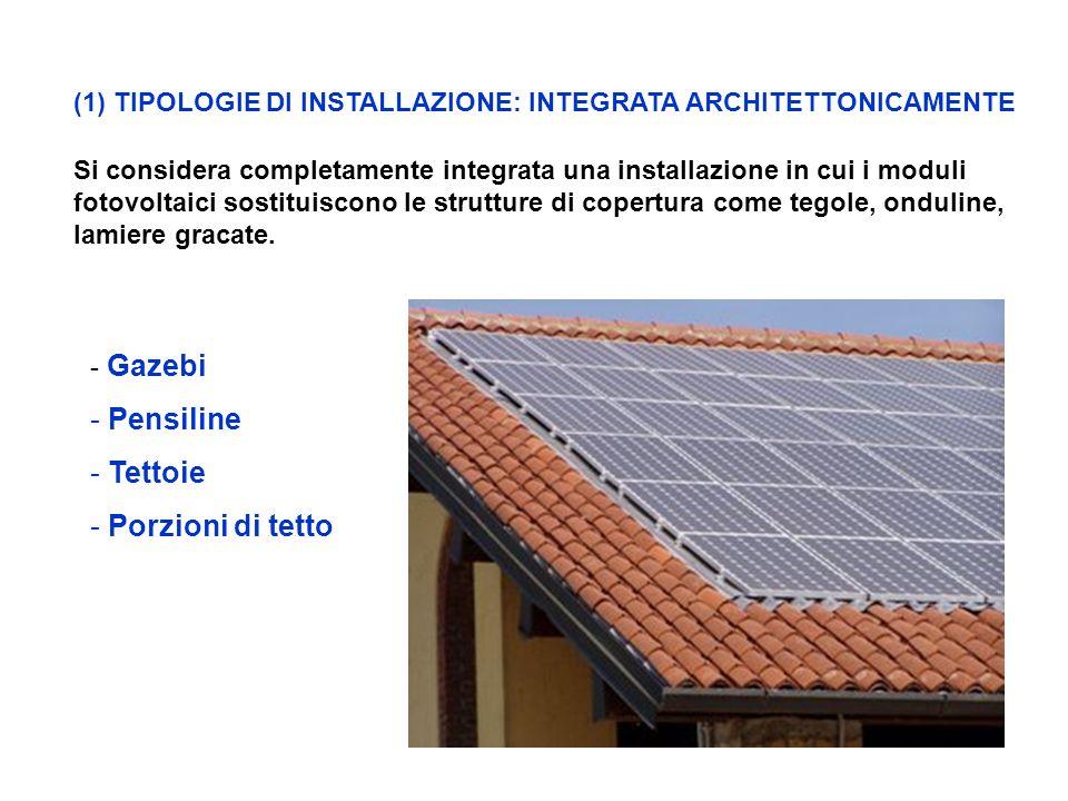 (1)TIPOLOGIE DI INSTALLAZIONE: INTEGRATA ARCHITETTONICAMENTE Si considera completamente integrata una installazione in cui i moduli fotovoltaici sostituiscono le strutture di copertura come tegole, onduline, lamiere gracate.