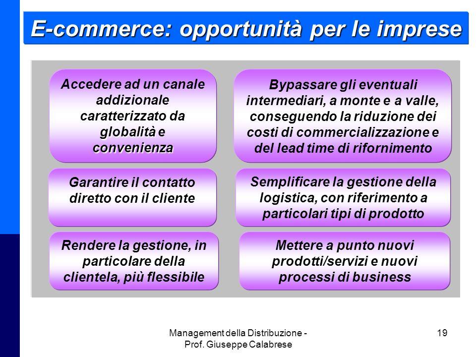 Management della Distribuzione - Prof. Giuseppe Calabrese 19 E-commerce: opportunità per le imprese globalità convenienza Accedere ad un canale addizi