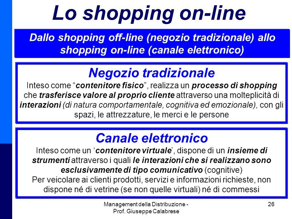 Management della Distribuzione - Prof. Giuseppe Calabrese 26 Lo shopping on-line Dallo shopping off-line (negozio tradizionale) allo shopping on-line