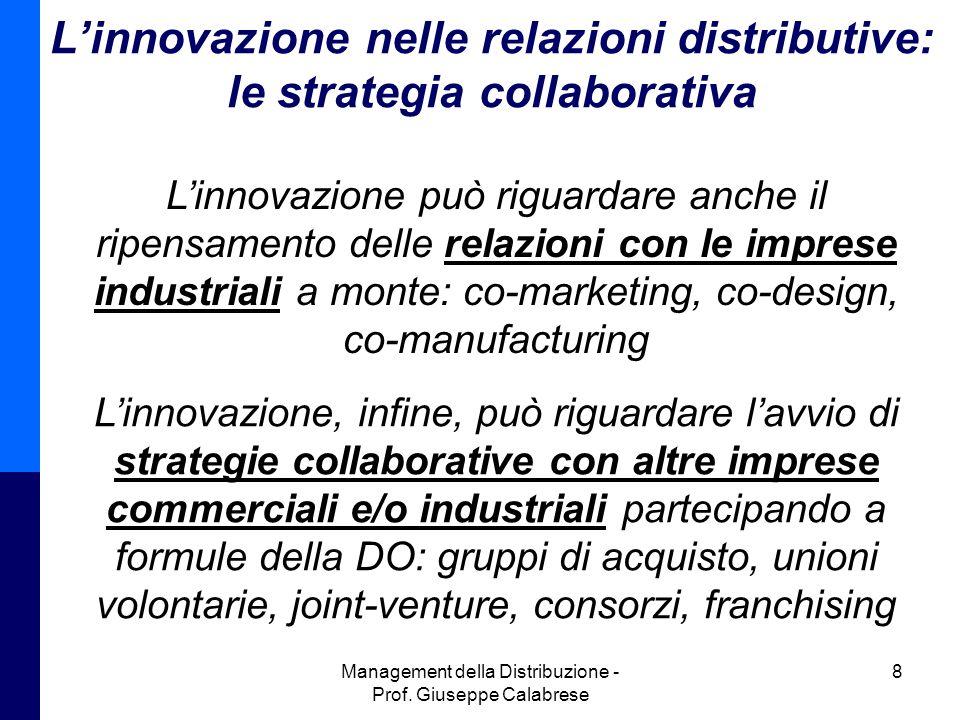Management della Distribuzione - Prof. Giuseppe Calabrese 8 Linnovazione nelle relazioni distributive: le strategia collaborativa Linnovazione può rig