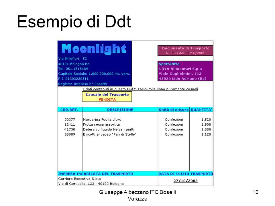 Giuseppe Albezzano ITC Boselli Varazze 10 Esempio di Ddt