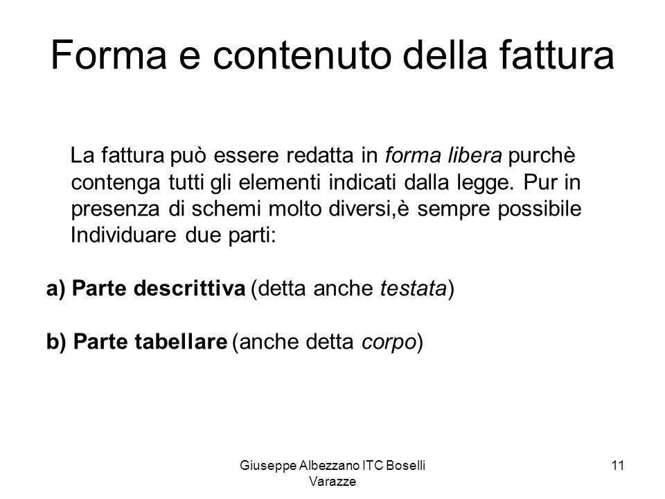 Giuseppe Albezzano ITC Boselli Varazze 11 Forma e contenuto della fattura La fattura può essere redatta in forma libera purchè contenga tutti gli elem