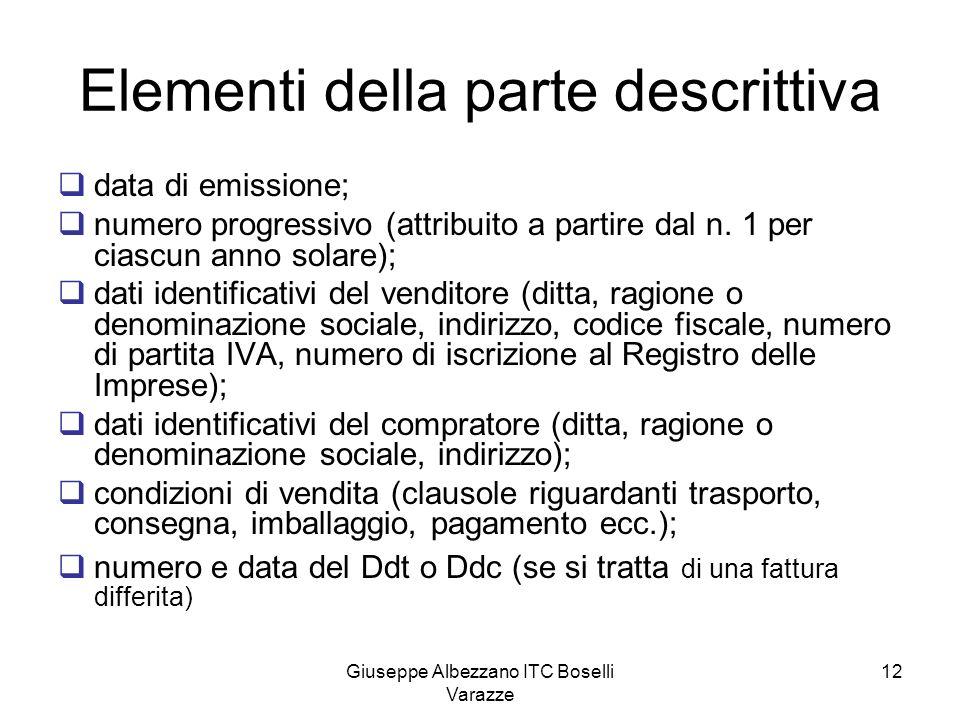 Giuseppe Albezzano ITC Boselli Varazze 12 Elementi della parte descrittiva data di emissione; numero progressivo (attribuito a partire dal n. 1 per ci