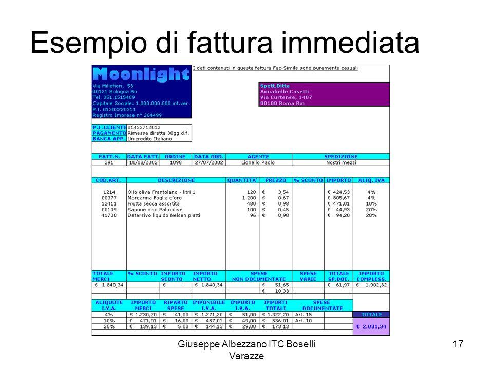 Giuseppe Albezzano ITC Boselli Varazze 17 Esempio di fattura immediata