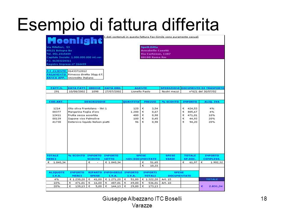 Giuseppe Albezzano ITC Boselli Varazze 18 Esempio di fattura differita