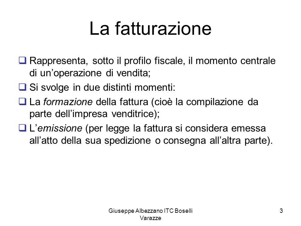 Giuseppe Albezzano ITC Boselli Varazze 3 La fatturazione Rappresenta, sotto il profilo fiscale, il momento centrale di unoperazione di vendita; Si svo