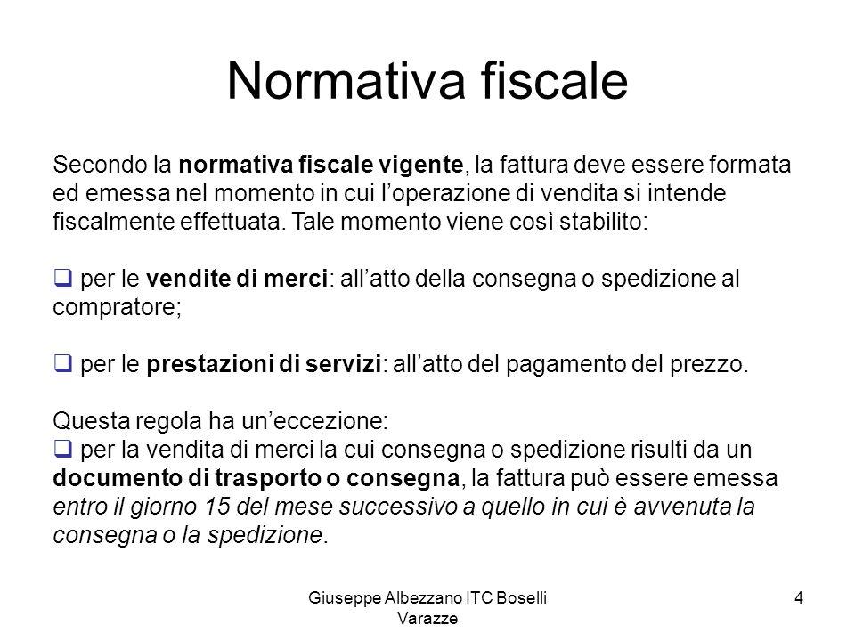 Giuseppe Albezzano ITC Boselli Varazze 4 Normativa fiscale Secondo la normativa fiscale vigente, la fattura deve essere formata ed emessa nel momento