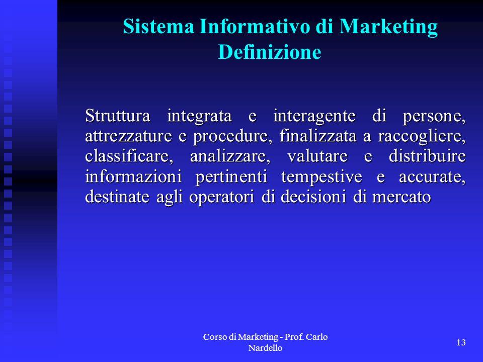Corso di Marketing - Prof. Carlo Nardello 13 Sistema Informativo di Marketing Definizione Struttura integrata e interagente di persone, attrezzature e
