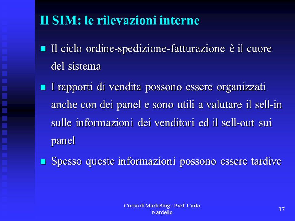 Corso di Marketing - Prof. Carlo Nardello 17 Il SIM: le rilevazioni interne Il ciclo ordine-spedizione-fatturazione è il cuore del sistema Il ciclo or
