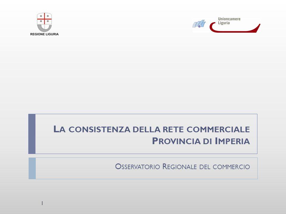 L A CONSISTENZA DELLA RETE COMMERCIALE P ROVINCIA DI I MPERIA O SSERVATORIO R EGIONALE DEL COMMERCIO 1