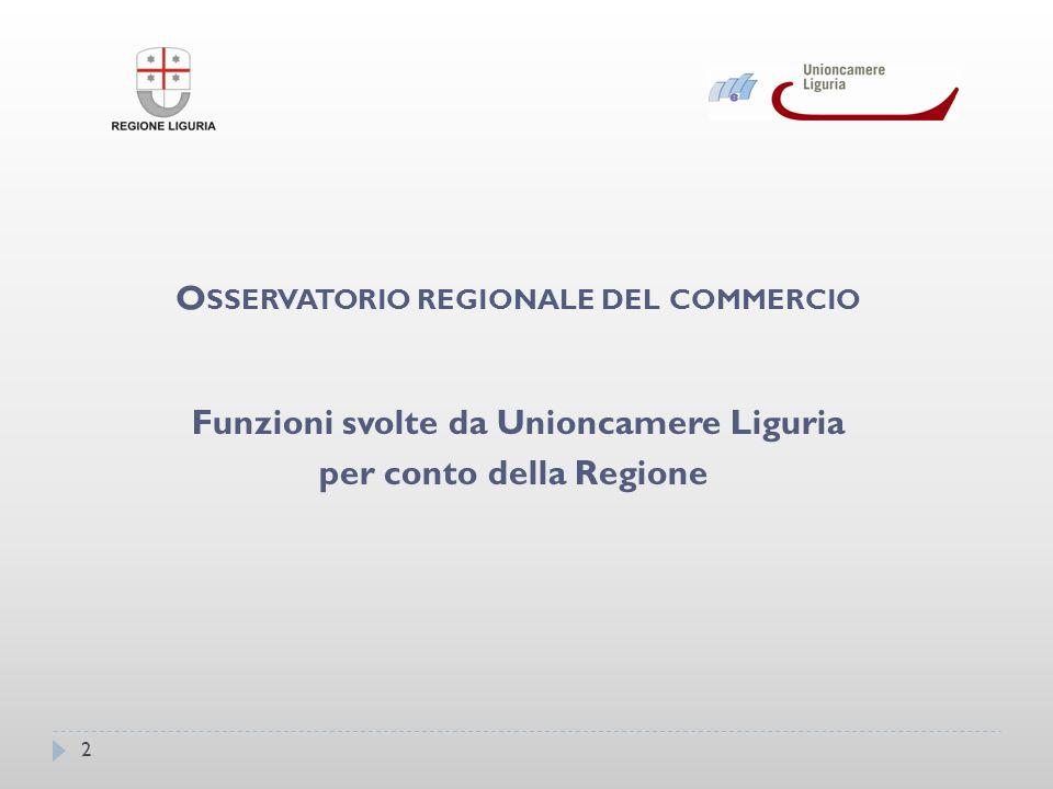 3 Raccolta dei dati resa possibile dalla collaborazione Regione – Unioncamere Liguria – Camere di Commercio e Comuni.