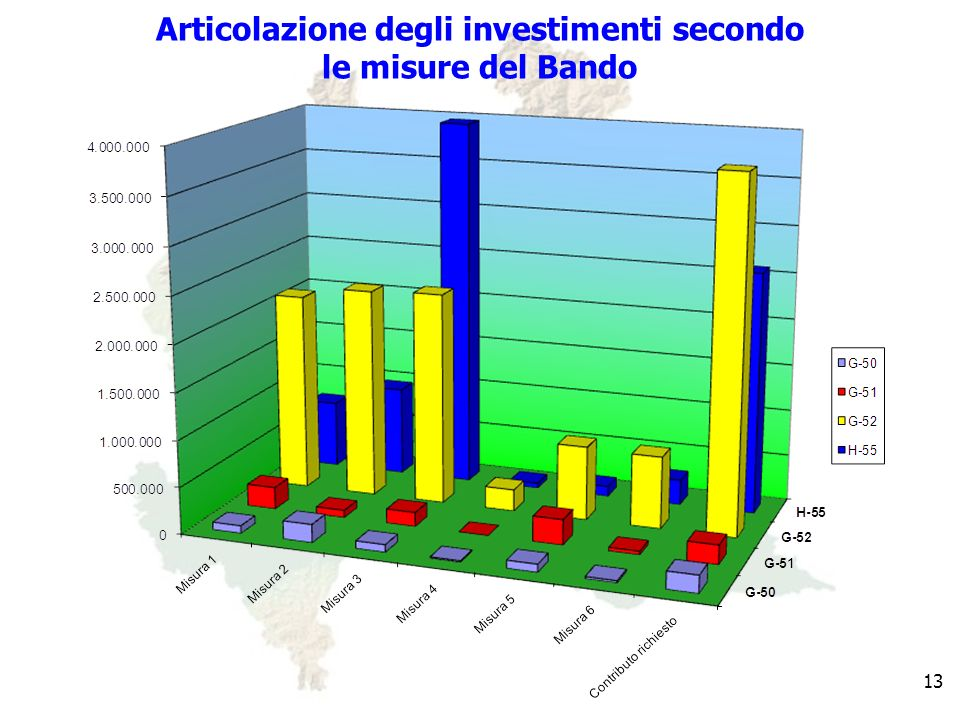 13 Articolazione degli investimenti secondo le misure del Bando