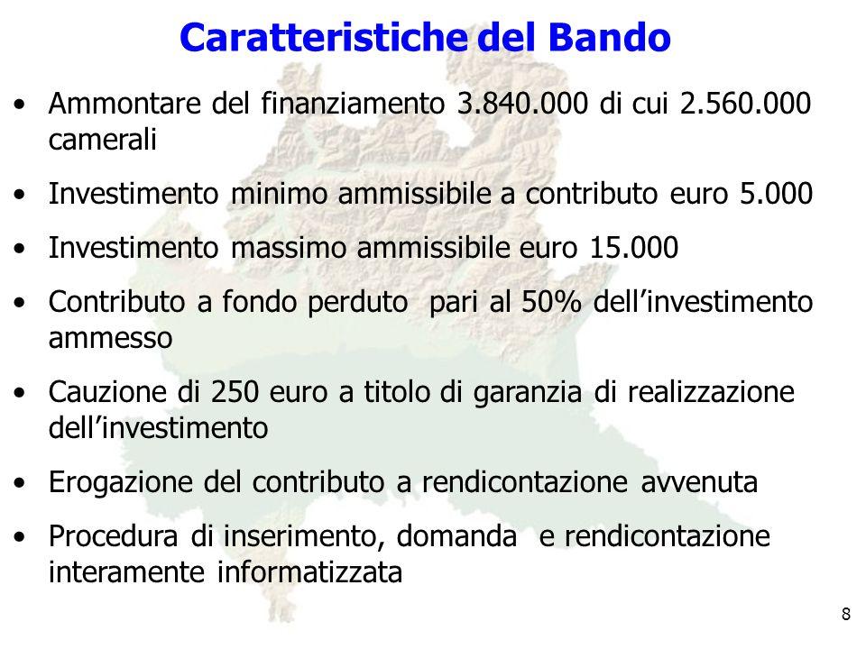 Caratteristiche del Bando Ammontare del finanziamento 3.840.000 di cui 2.560.000 camerali Investimento minimo ammissibile a contributo euro 5.000 Investimento massimo ammissibile euro 15.000 Contributo a fondo perduto pari al 50% dellinvestimento ammesso Cauzione di 250 euro a titolo di garanzia di realizzazione dellinvestimento Erogazione del contributo a rendicontazione avvenuta Procedura di inserimento, domanda e rendicontazione interamente informatizzata 8