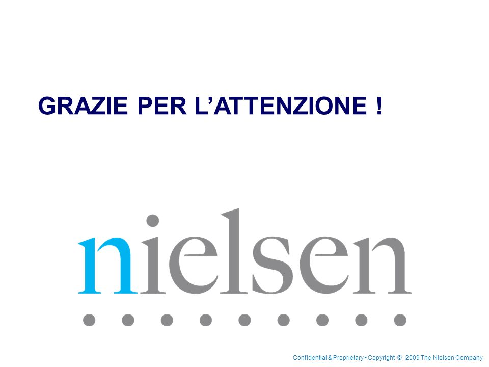 15 Maggio 2009 Confidential & Proprietary Copyright © 2009 The Nielsen Company Nielsen BookScan in Italia Page 32 GRAZIE PER LATTENZIONE ! Confidentia