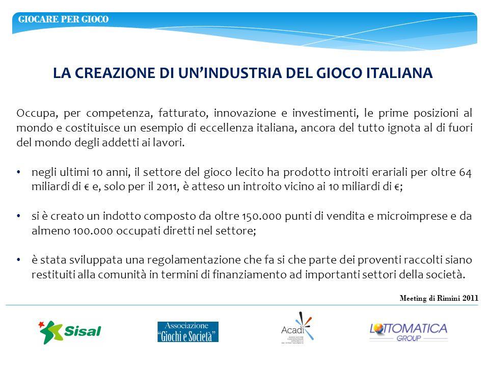 GIOCARE PER GIOCO Meeting di Rimini 2011 LA CREAZIONE DI UNINDUSTRIA DEL GIOCO ITALIANA Occupa, per competenza, fatturato, innovazione e investimenti,