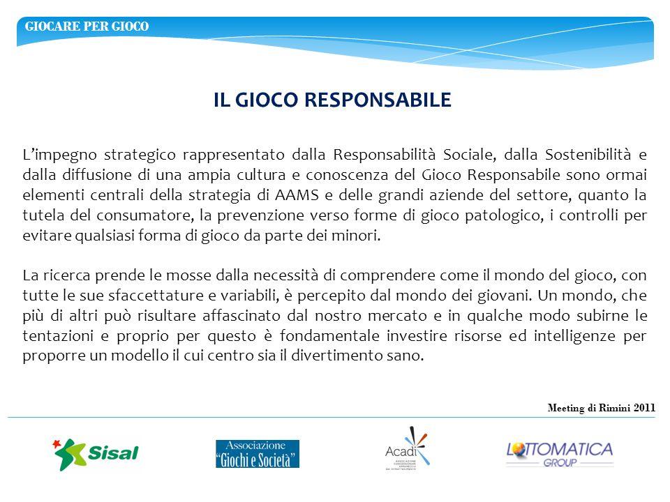 GIOCARE PER GIOCO Meeting di Rimini 2011 IL GIOCO RESPONSABILE Limpegno strategico rappresentato dalla Responsabilità Sociale, dalla Sostenibilità e d