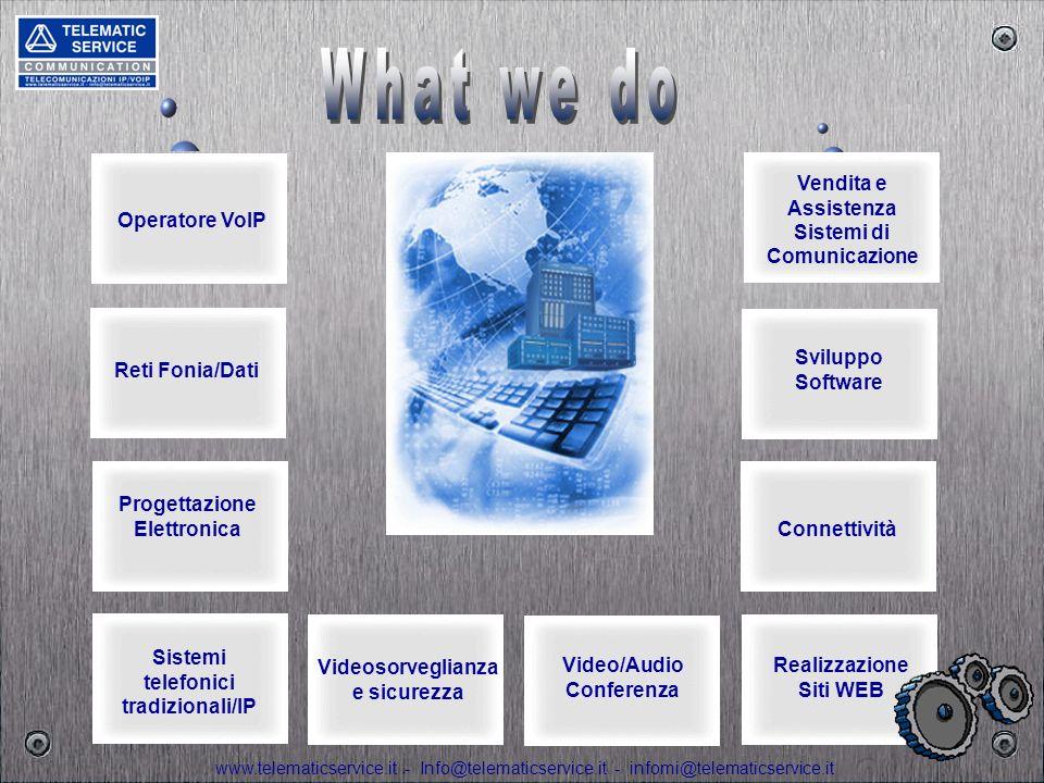 www.telematicservice.it - Info@telematicservice.it - infomi@telematicservice.it SISTEMI TELEFONICI E PIATTAFORME IP, SERVIZI INTRANET E INTERNET, XDSL, DOMINI E POSTA ELETTRONICA TRAFFICO VOCE E DATI, MOBILITA, UNBUNDLING, RETI WI-FI, WI-MAX, MPLS, VPN E MOBILE OFFICE CONSULENZA A 360° SULLE TELECOMUNICAZIONI