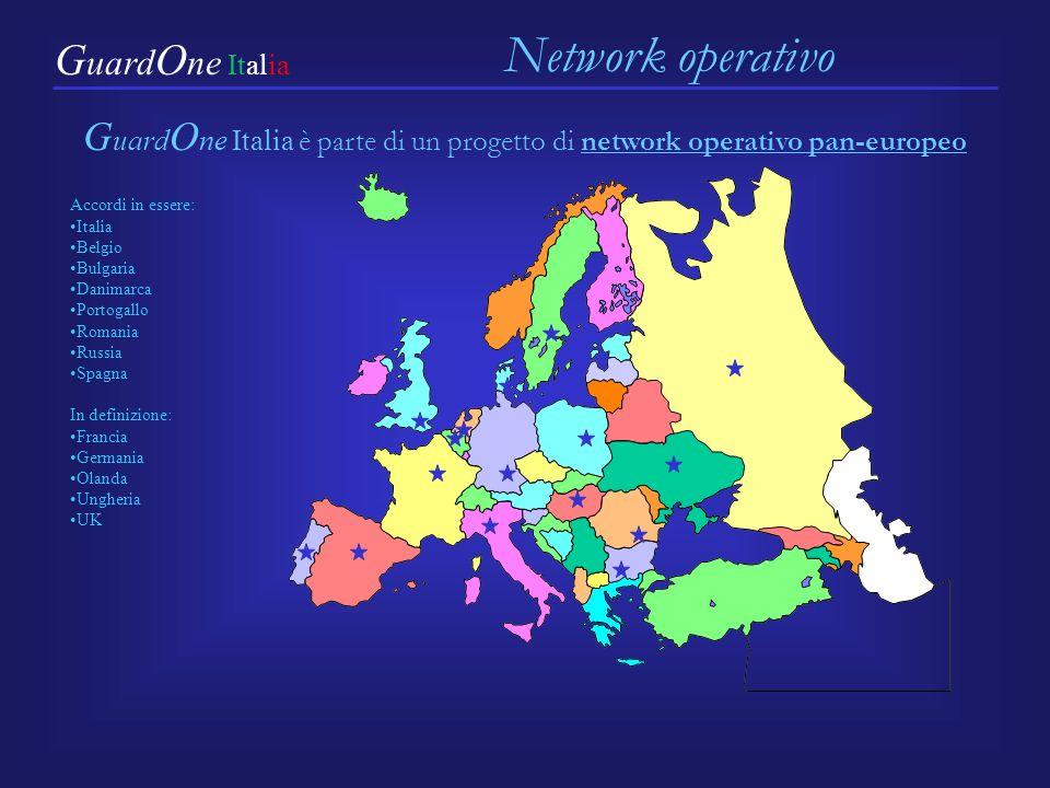 G uard O ne Italia è parte di un progetto di network operativo pan-europeo Network operativo G uard O ne Italia Accordi in essere: Italia Belgio Bulgaria Danimarca Portogallo Romania Russia Spagna In definizione: Francia Germania Olanda Ungheria UK