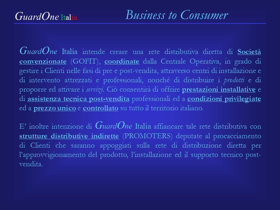 G uard O ne Italia intende creare una rete distributiva diretta di Società convenzionate (GOFIT), coordinate dalla Centrale Operativa, in grado di ges