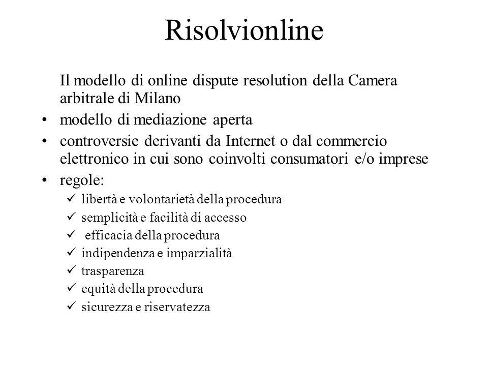 Risolvionline Il modello di online dispute resolution della Camera arbitrale di Milano modello di mediazione aperta controversie derivanti da Internet