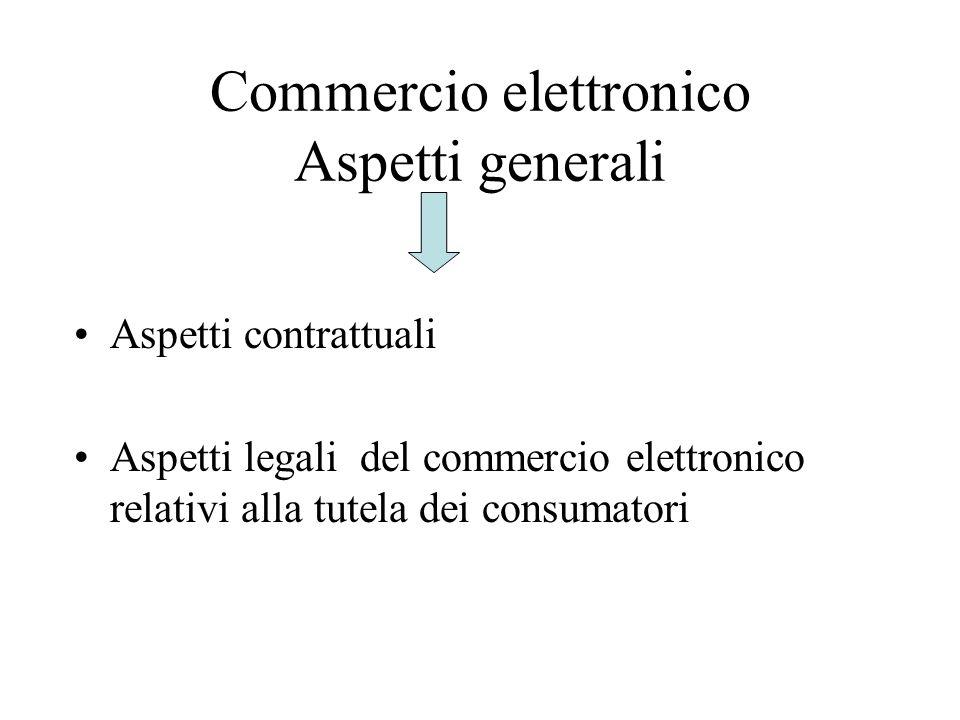 Commercio elettronico Aspetti generali Aspetti contrattuali Aspetti legali del commercio elettronico relativi alla tutela dei consumatori