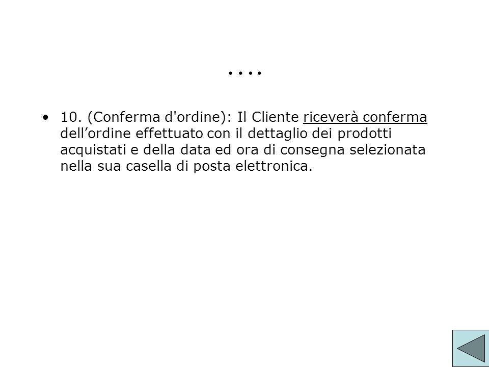 …. 10. (Conferma d'ordine):Il Cliente riceverà conferma dellordine effettuato con il dettaglio dei prodotti acquistati e della data ed ora di consegna