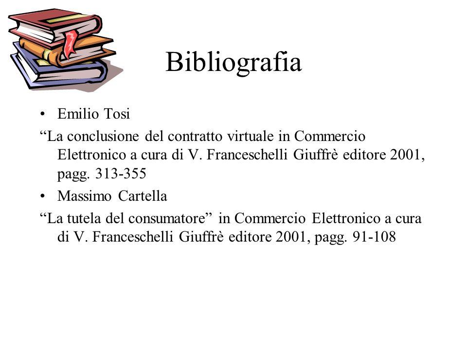 Bibliografia Emilio Tosi La conclusione del contratto virtuale in Commercio Elettronico a cura di V. Franceschelli Giuffrè editore 2001, pagg. 313-355