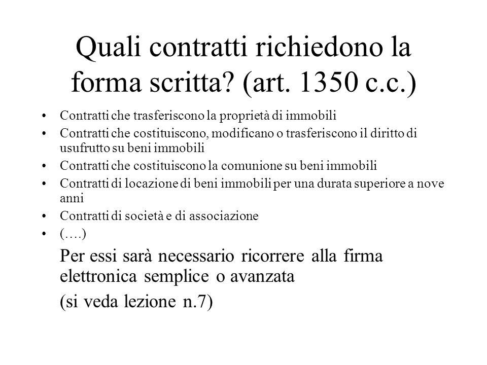 Quali contratti richiedono la forma scritta? (art. 1350 c.c.) Contratti che trasferiscono la proprietà di immobili Contratti che costituiscono, modifi