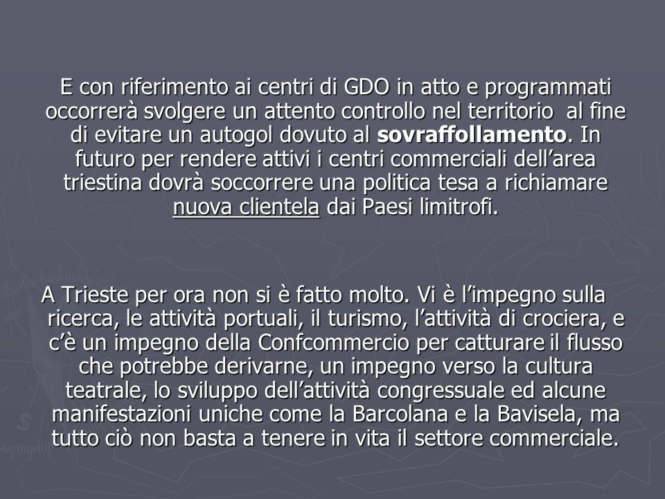 E con riferimento ai centri di GDO in atto e programmati occorrerà svolgere un attento controllo nel territorio al fine di evitare un autogol dovuto a