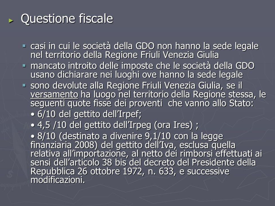 Questione fiscale Questione fiscale casi in cui le società della GDO non hanno la sede legale nel territorio della Regione Friuli Venezia Giulia casi