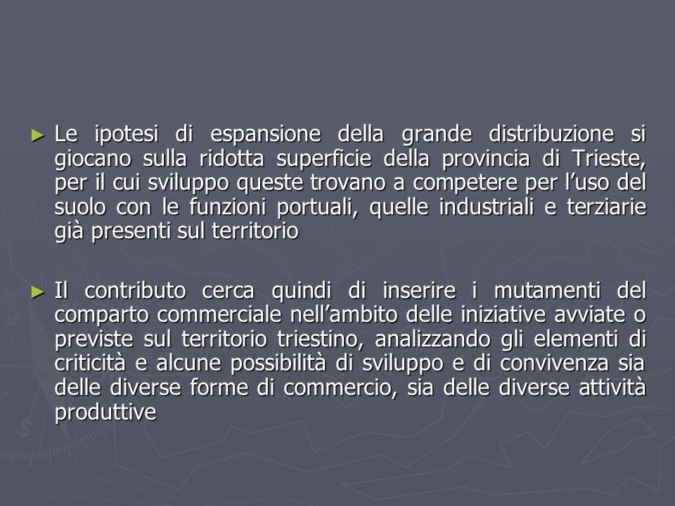 Introduzione Lo sviluppo di un moderno sistema distributivo, idoneo ad equilibrare le esigenze della Grande Distribuzione Organizzata e del commercio tradizionale costituisce una delle occasioni mancate dellItalia Il Friuli Venezia Giulia appare come un territorio affollato di strutture per la GDO, con una capacità di vendita, specialmente nellarea udinese (la quale ospita oltre il 30% di tutti gli insediamenti di GDO della regione) superiore alla media del Nord Italia Il Piano Regionale del Commercio fotografa al 2005 superfici di vendita riferite alla GDO nel comparto alimentare intorno al 40% e nel comparto non alimentare intorno al 60% (con riferimento alla Provincia di Trieste nel comparto alimentare circa 62% e nel comparto non alimentare circa 38% )