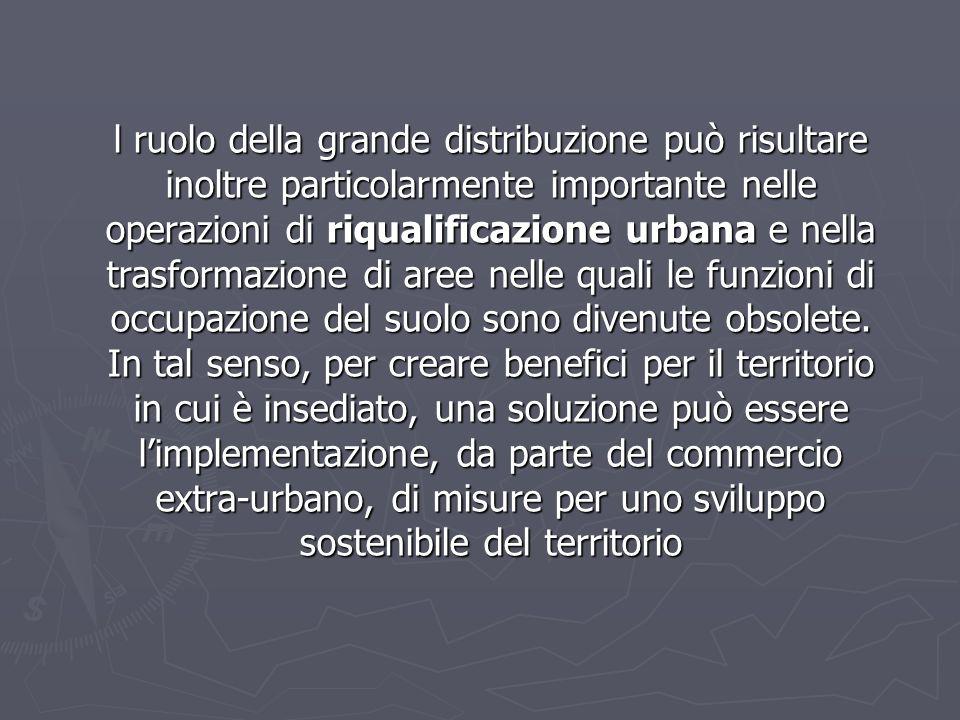 l ruolo della grande distribuzione può risultare inoltre particolarmente importante nelle operazioni di riqualificazione urbana e nella trasformazione