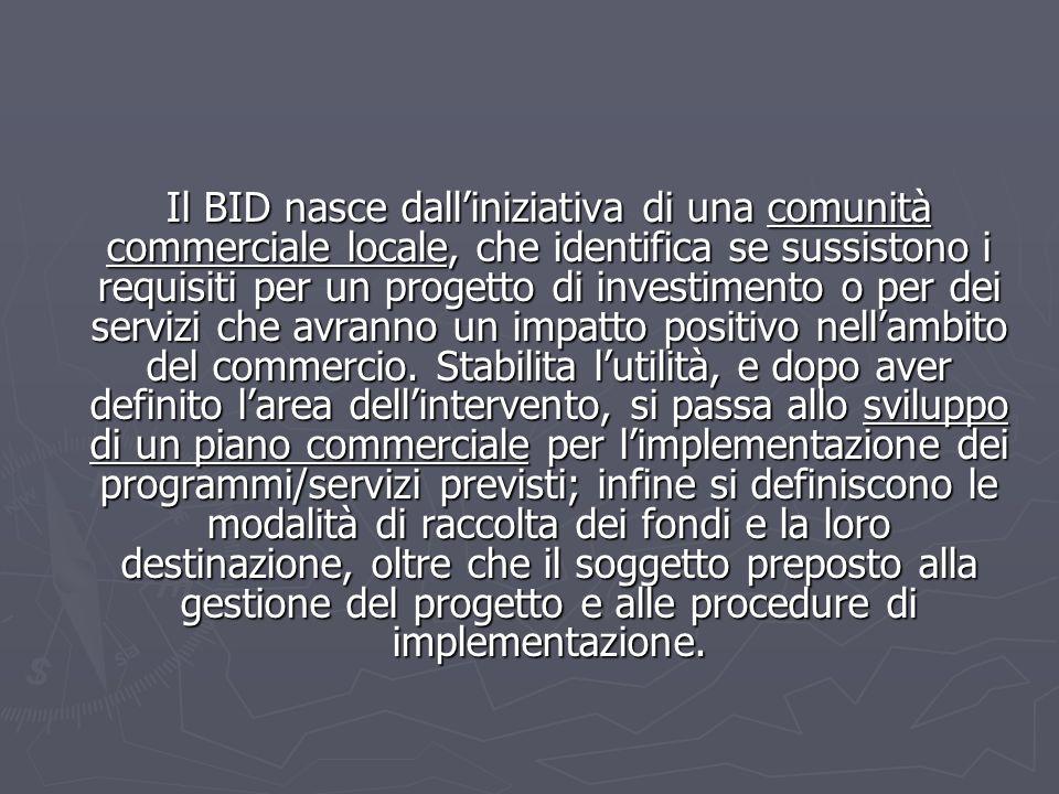 Il BID nasce dalliniziativa di una comunità commerciale locale, che identifica se sussistono i requisiti per un progetto di investimento o per dei ser
