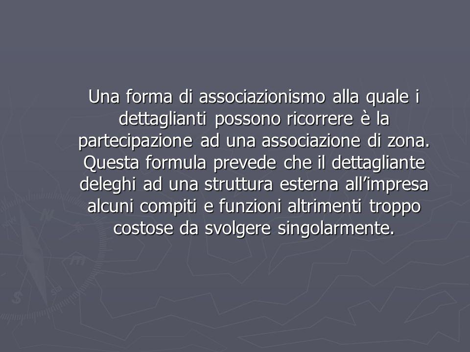 Una forma di associazionismo alla quale i dettaglianti possono ricorrere è la partecipazione ad una associazione di zona. Questa formula prevede che i