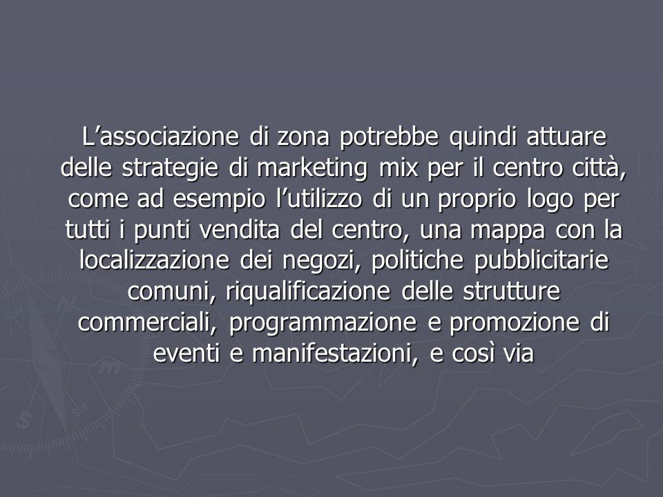 Lassociazione di zona potrebbe quindi attuare delle strategie di marketing mix per il centro città, come ad esempio lutilizzo di un proprio logo per t