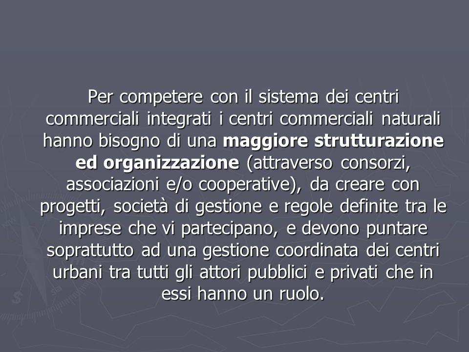 Per competere con il sistema dei centri commerciali integrati i centri commerciali naturali hanno bisogno di una maggiore strutturazione ed organizzaz