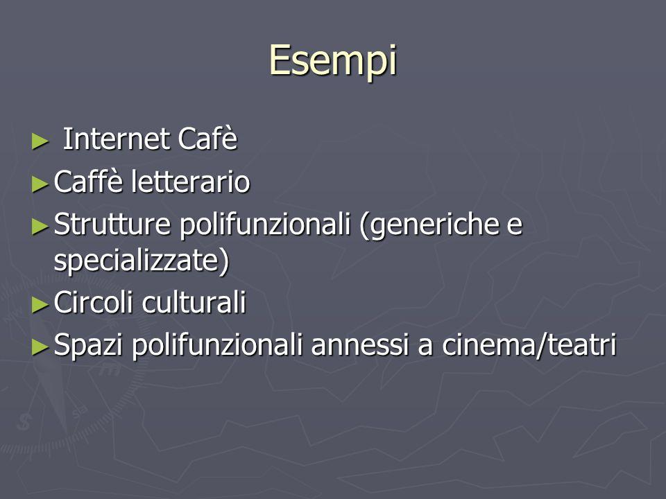 Esempi Internet Cafè Internet Cafè Caffè letterario Caffè letterario Strutture polifunzionali (generiche e specializzate) Strutture polifunzionali (ge