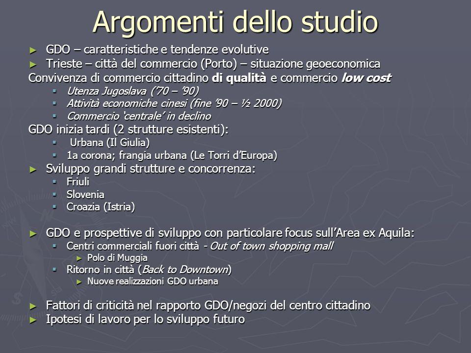 Argomenti dello studio GDO – caratteristiche e tendenze evolutive GDO – caratteristiche e tendenze evolutive Trieste – città del commercio (Porto) – s