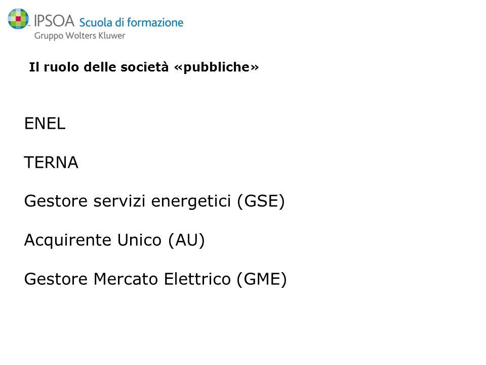 Il ruolo delle società «pubbliche» ENEL TERNA Gestore servizi energetici (GSE) Acquirente Unico (AU) Gestore Mercato Elettrico (GME)