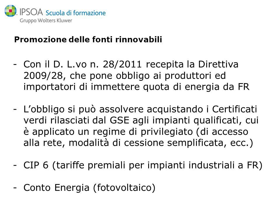 Promozione delle fonti rinnovabili -Con il D. L.vo n.