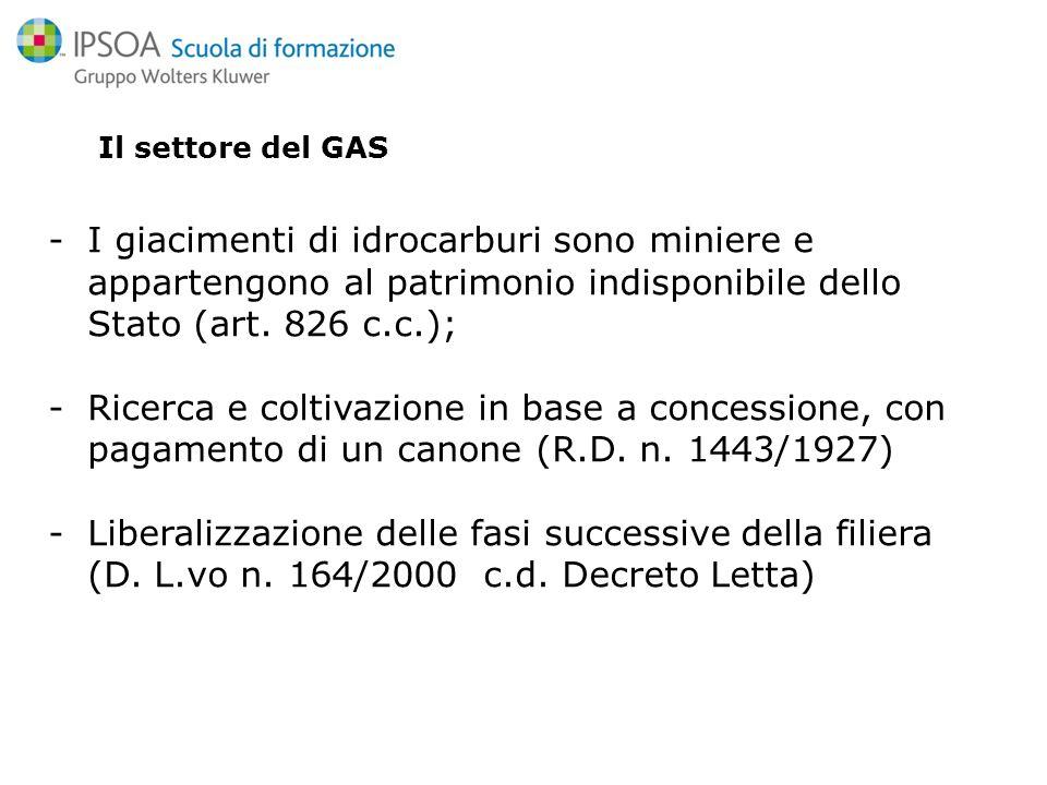 Il settore del GAS -I giacimenti di idrocarburi sono miniere e appartengono al patrimonio indisponibile dello Stato (art.
