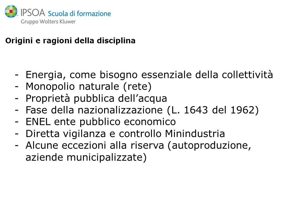 Origini e ragioni della disciplina -Energia, come bisogno essenziale della collettività -Monopolio naturale (rete) -Proprietà pubblica dellacqua -Fase della nazionalizzazione (L.