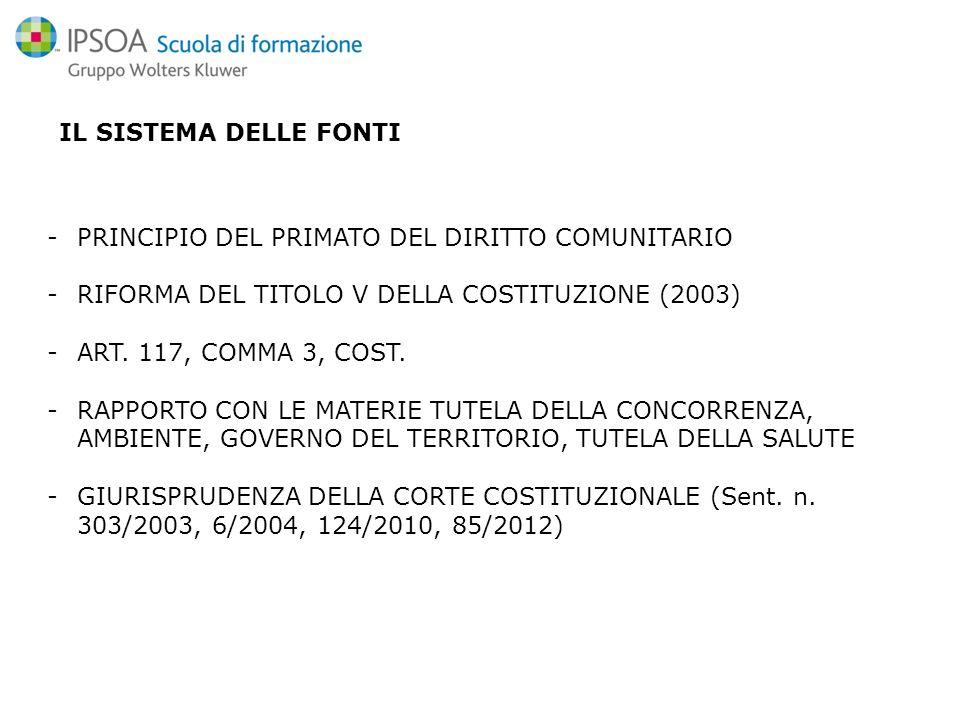 IL SISTEMA DELLE FONTI -PRINCIPIO DEL PRIMATO DEL DIRITTO COMUNITARIO -RIFORMA DEL TITOLO V DELLA COSTITUZIONE (2003) -ART.