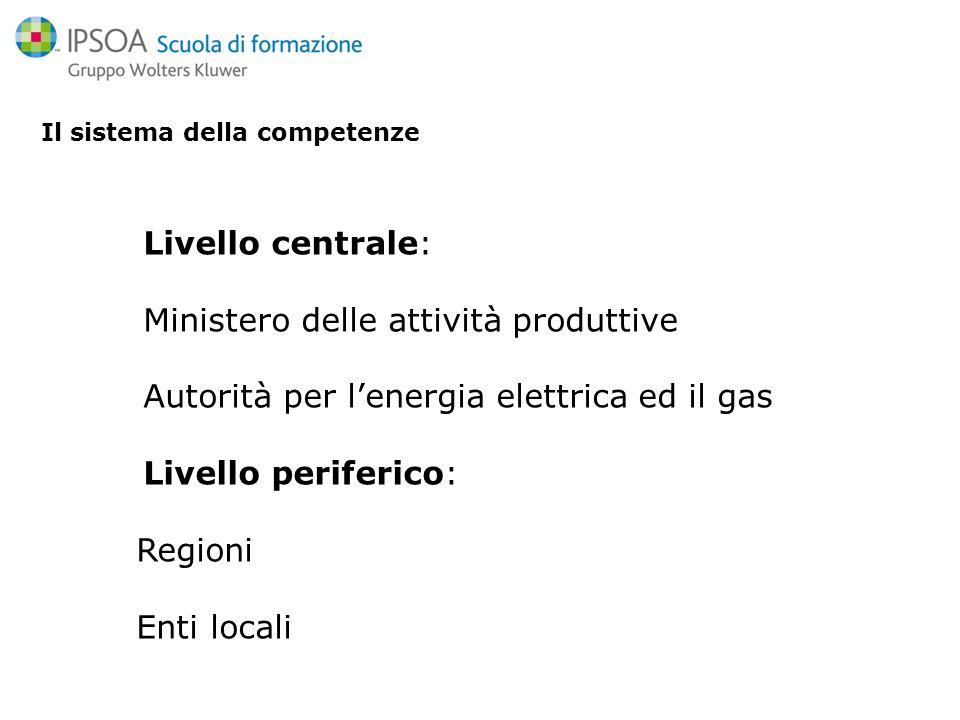 Il sistema della competenze Livello centrale: Ministero delle attività produttive Autorità per lenergia elettrica ed il gas Livello periferico: Regioni Enti locali