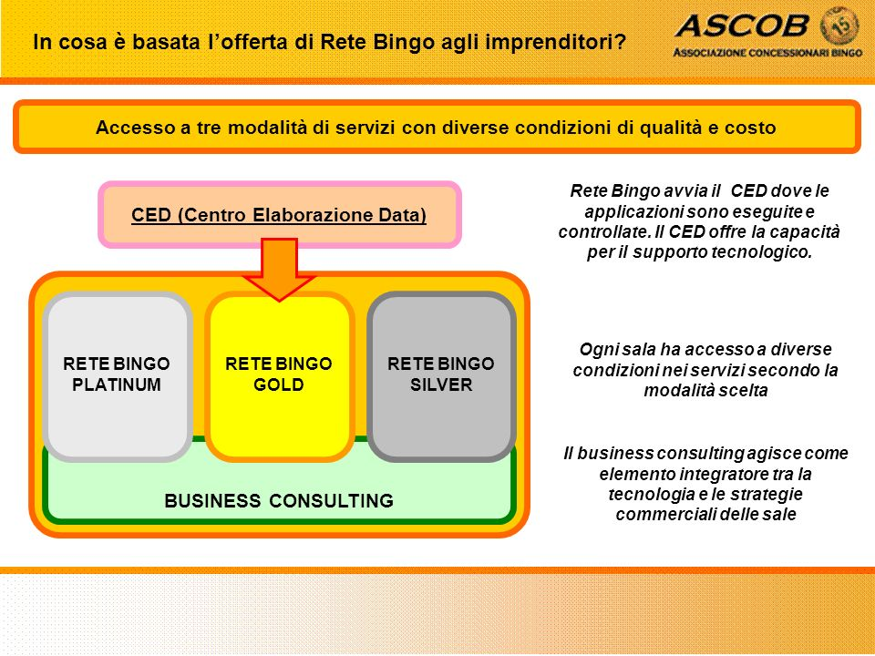 BUSINESS CONSULTING RETE BINGO SILVER RETE BINGO GOLD RETE BINGO PLATINUM CED (Centro Elaborazione Data) In cosa è basata lofferta di Rete Bingo agli