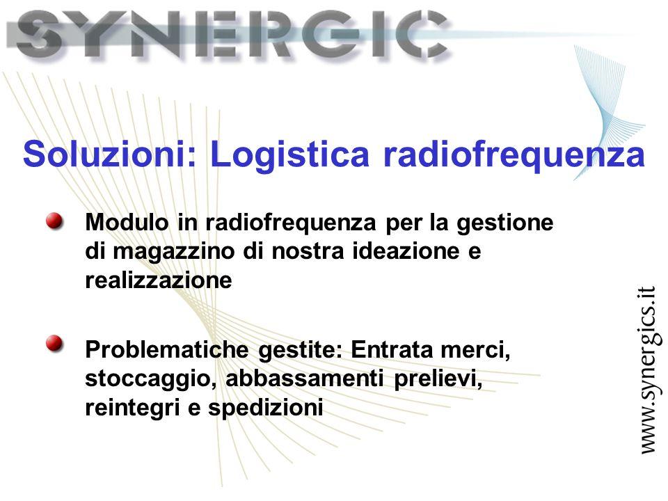 Soluzioni: Logistica radiofrequenza Modulo in radiofrequenza per la gestione di magazzino di nostra ideazione e realizzazione Problematiche gestite: Entrata merci, stoccaggio, abbassamenti prelievi, reintegri e spedizioni