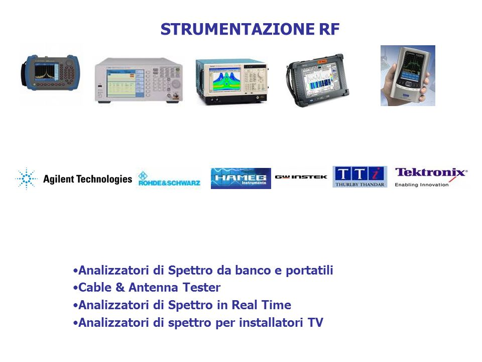 STRUMENTAZIONE RF Analizzatori di Spettro da banco e portatili Cable & Antenna Tester Analizzatori di Spettro in Real Time Analizzatori di spettro per